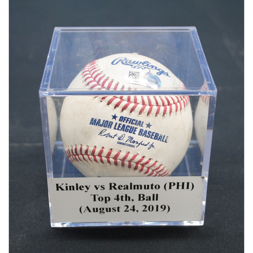 Photo of Game-Used Baseball: Tyler Kinley vs JT Realmuto (PHI), Top 4th, Ball - August 24, 2019