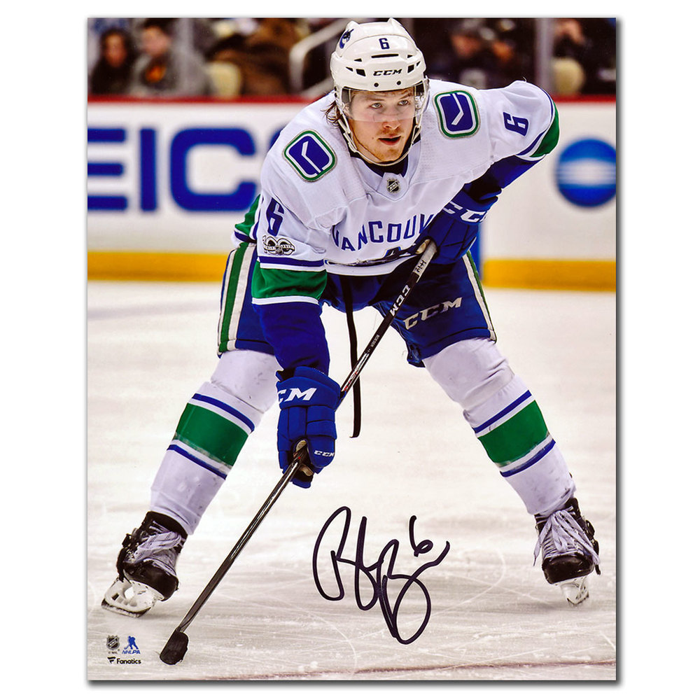 Brock Boeser Vancouver Canucks WHITE JERSEY Autographed 8x10 Photo