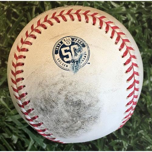 Photo of Game-Used Baseball MIN@MIL 08/12/20 - Eric Yardley - Byron Buxton: Solo HR (6)