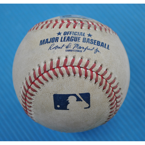 Photo of Game-Used Baseball - 2020 ALCS - Tampa Bay Rays vs. Houston Astros - Game 5 - Pitcher: Luis Garcia, Batter: Ji-Man Choi (Foul) - Top 2