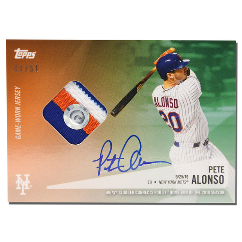 Photo of Pete Alonso #20 - Autographed Limited Edition of 51 Green Topps Card - Features Authenticated Game Used Jersey from 2019 Rookie of the Year Campaign - Alonso Hits 51st HR on 9/25/19