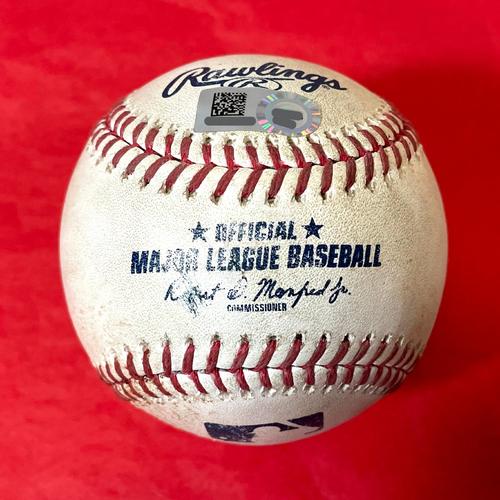 Photo of Game-Used Baseball - Kris Bryant RBI Double, Javier Baez RBI Single vs. Merrill Kelly - Cubs @ D-backs 7/18/2021