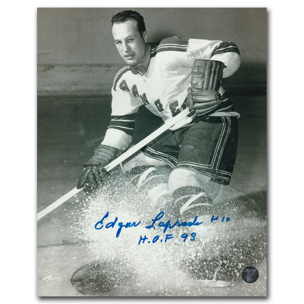 Edgar Laprade (deceased) Autographed New York Rangers 8X10 Photo w/HOF 93 Inscription
