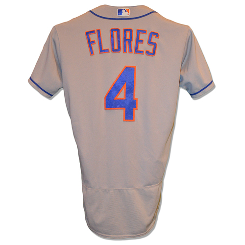 Photo of Wilmer Flores #4 - Game Used Road Grey Jersey - Flores Goes 2-5, 2 RBI, 1 Run Scored - Mets vs. Dodgers - 9/5/18