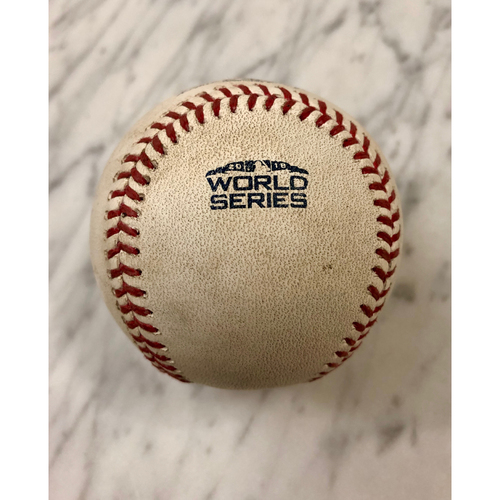 Photo of Game-Used Baseball: 2018 World Series Game 3 - Boston Red Sox at Los Angeles Dodgers - Batter: Brock Holt, Pitcher: Pedro Baez - Top 10, Single to CF