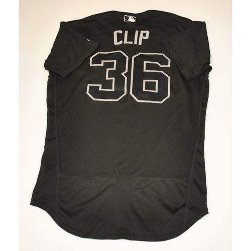 "Photo of Tyler ""Clip"" Clippard Cleveland Indians Game-Used 2019 Players' Weekend Jersey"