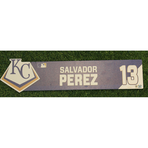 Photo of Team-Issued Locker Nameplate: Salvador Perez