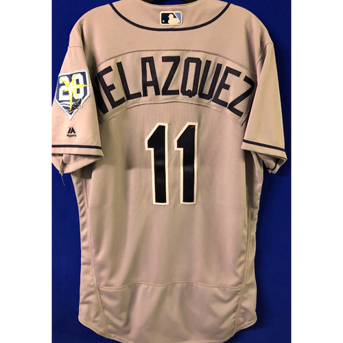 Photo of Game Used Jersey & Lineup Card: Andrew Velazquez - MLB Debut - September 2, 2018 at CLE
