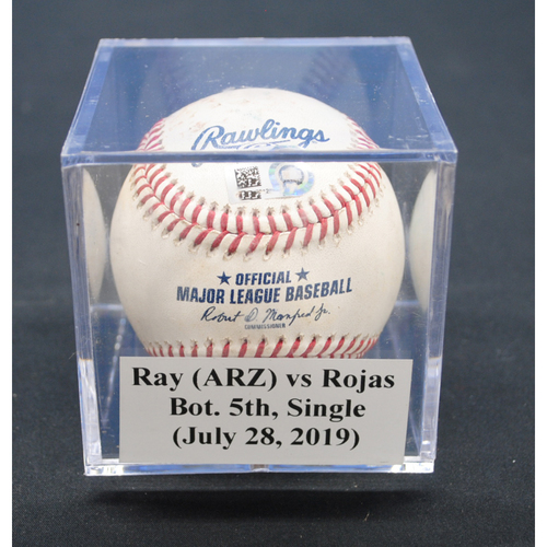 Photo of Game-Used Baseball: Robbie Ray (ARZ) vs Miguel Rojas, Bot. 5th, Single - July 28, 2019