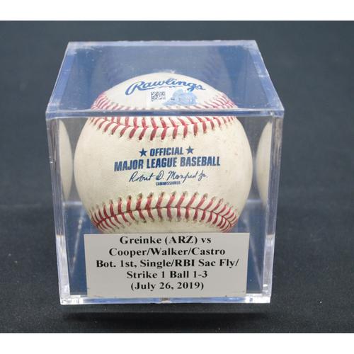 Photo of Game-Used Baseball: Zack Greinke (ARZ) vs Garrett Cooper/Neil Walker/Starlin Castro, Bot. 1st, Single/RBI Sac Fly/Strike 1 Ball - July 26, 2019