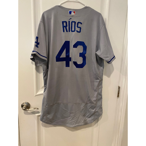 Photo of Edwin Rios Authentic Game-Used Jersey from 8/16/20 Game vs LAA - Size  46