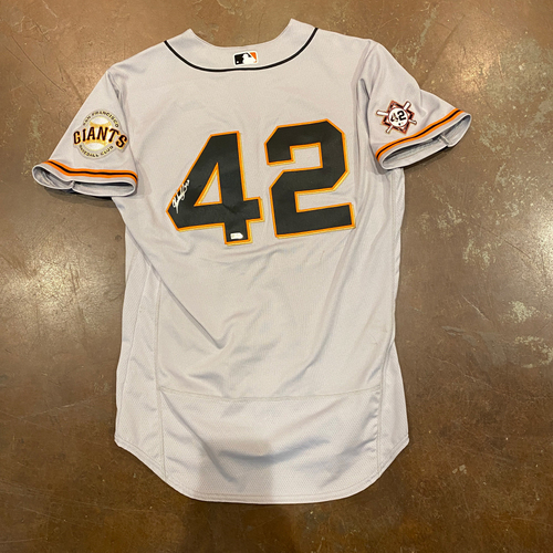 Photo of 2020 Jackie Robinson Day Jersey - Team Issued & Autographed - #47 Johnny Cueto - Size 46
