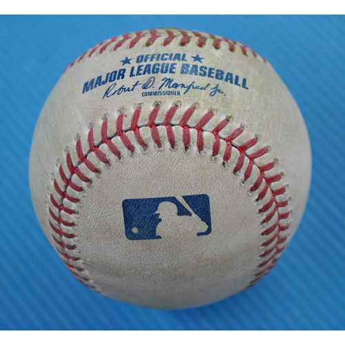 Photo of Game-Used Baseball - 2020 ALCS - Houston Astros vs. Tampa Bay Rays - Game 6 - Pitcher: Shane McClanahan, Batter: Carlos Correa (Double to CF) - Top 7