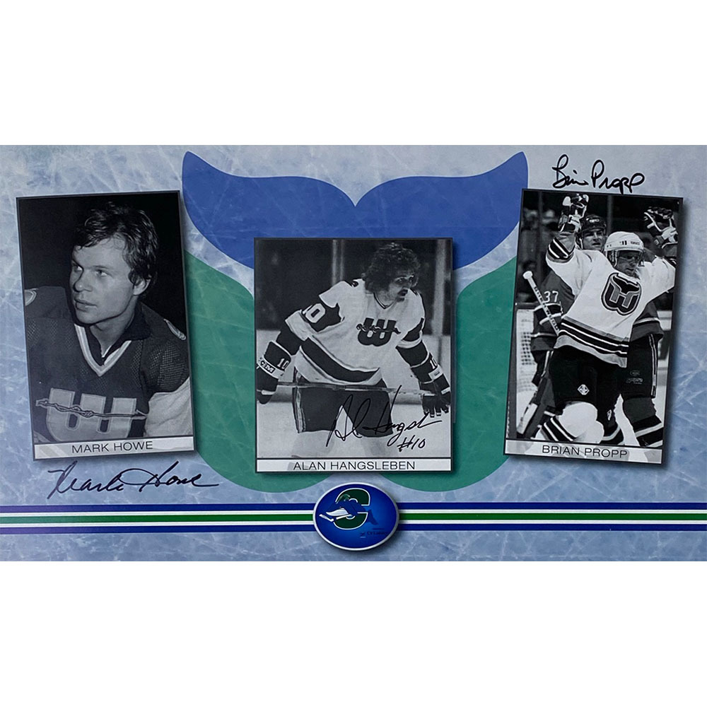 Mark Howe, Alan Hangleben and Brian Propp Autographed New England Whalers 8X14 Photo