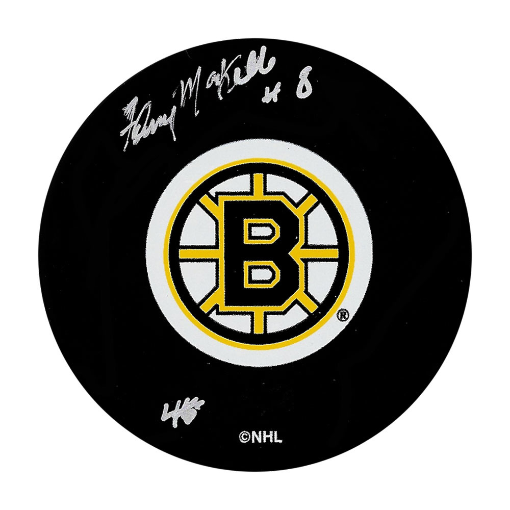 Fleming Mackell Autographed Boston Bruins Puck