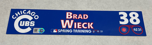 Photo of Brad Wieck 2021 Spring Training Locker Nameplate
