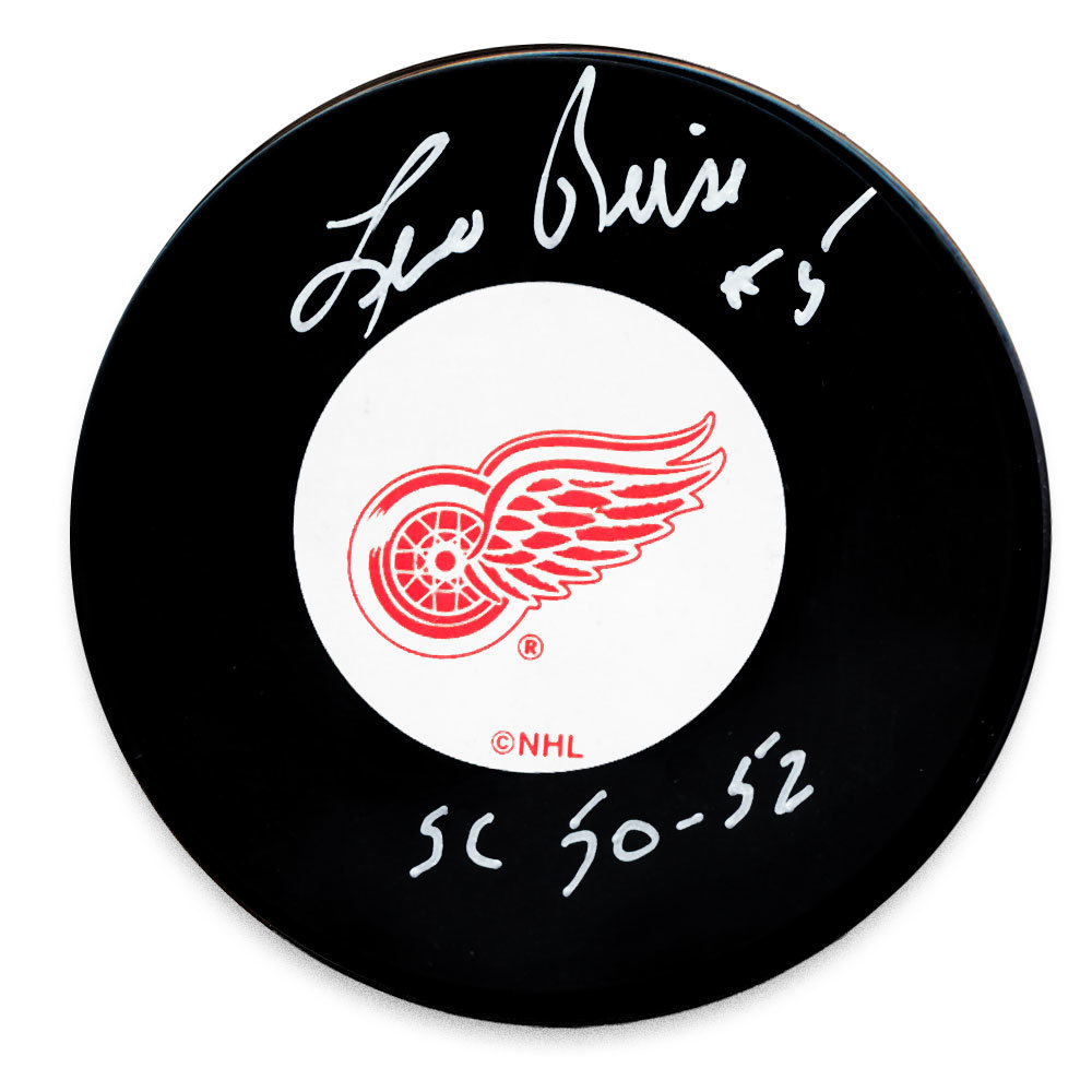 Leo Reise Detroit Red Wings 1950 & 52 Cups Autographed Puck