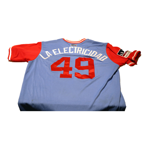"Photo of Jhan ""LA Electricidad"" Mariñez Texas Rangers Game-Used Players Weekend Jersey"