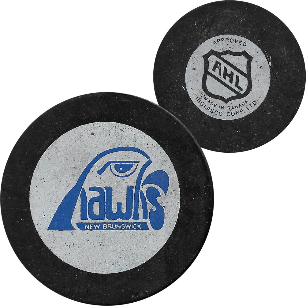 Classic New Brunswick Hawks (AHL) In Glas Co Official Game Puck - 1981-83