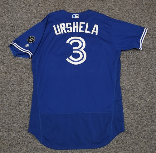 Photo of Authenticated Game Used Jersey - #3 Gio Urshela (May 18, 18: 1-for-2 with 1 RBI. May 19, 18: 1-for-3 with 1 HR, 1 Run and 2 RBIs. June 9, 18: 3-for-4). Size 48.