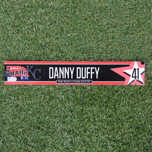 Photo of Game-Used Locker Tag: MLB in Omaha - Danny Duffy (DET @ KC - 6/13/19)