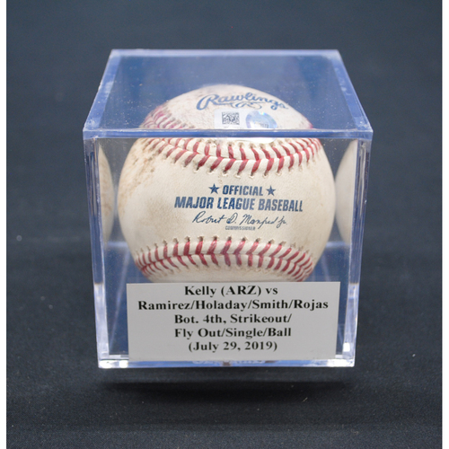 Photo of Game-Used Baseball: Merrill Kelly (ARZ) vs Harold Ramirez/Bryan Holaday/Caleb Smith/Miguel Rojas, Bot. 4th, Strikeout/Fly Out/Single/Ball - July 29, 2019