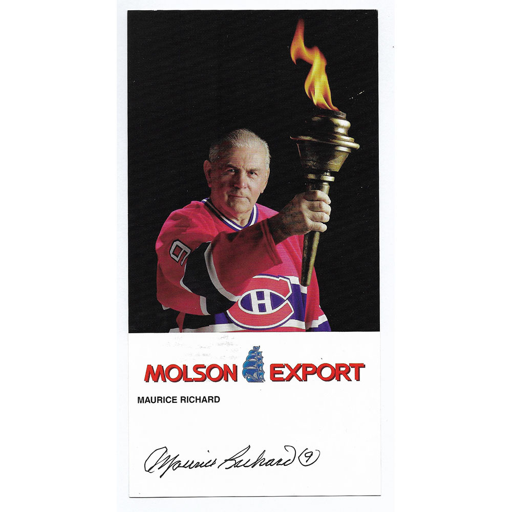 Maurice Richard Autographed 4X8 Montreal Canadiens Promo Card