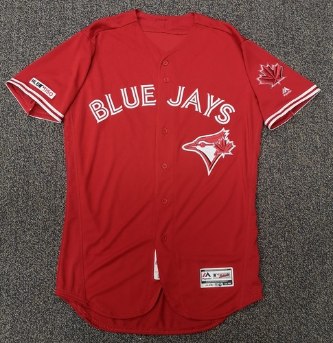 Photo of Authenticated Team Issued Red 2019 Jersey - Features MLB 150 Patch and Maple Leaf Patch on Sleeves - - Choose your size!