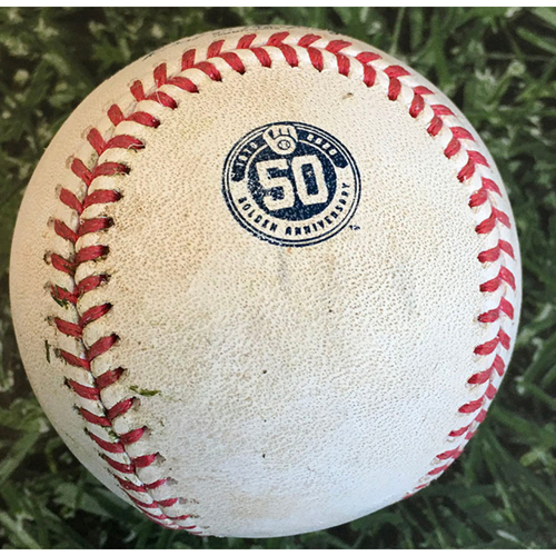 Photo of Game-Used Baseball MIN@MIL 08/12/20 - Brent Suter - Jake Cave: Strikeout