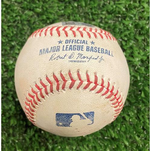 Photo of Lorenzo Cain Hit Single Baseball off Jesse Chavez - 10/12/21- NLDS Game 4, Braves Win NLDS