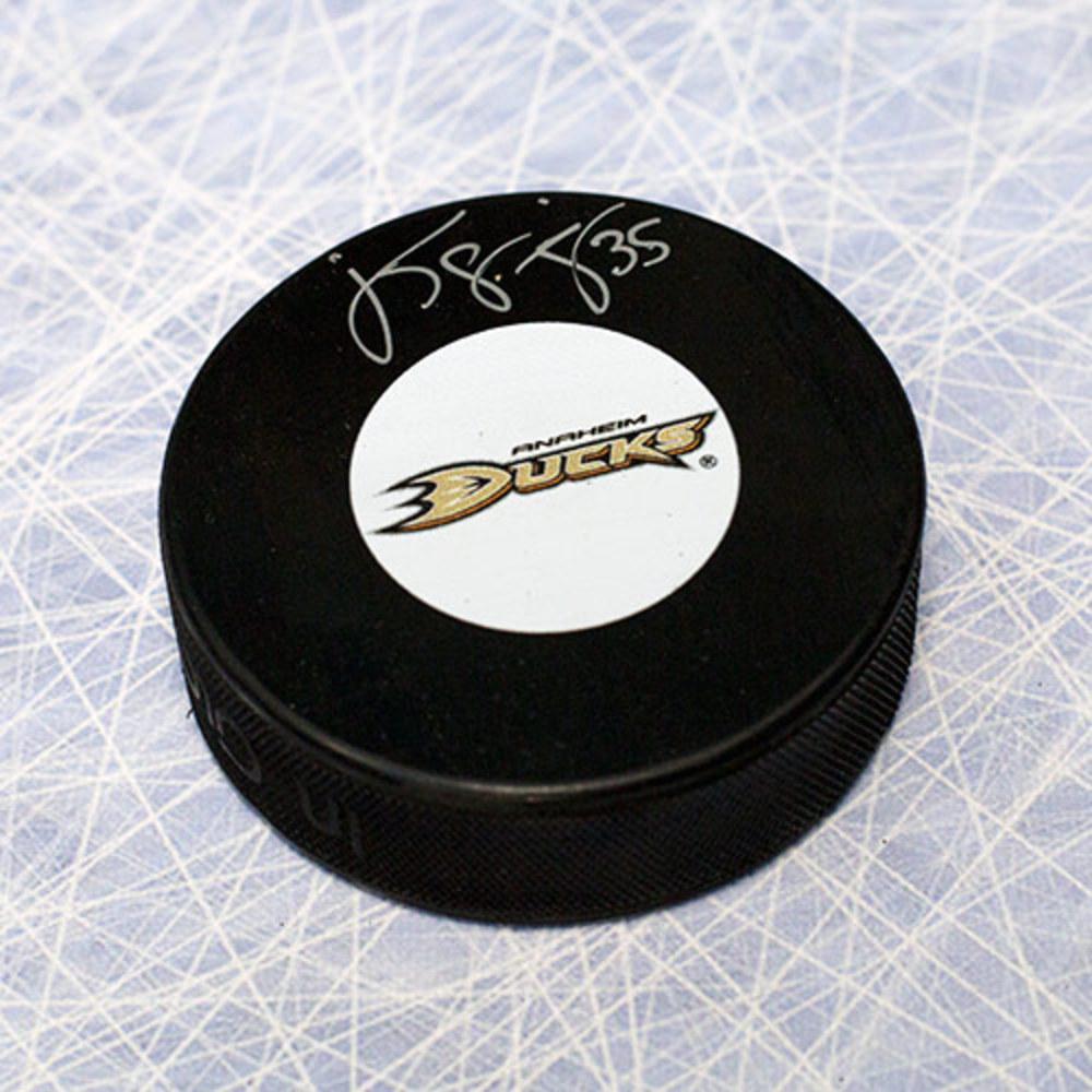 Jean-Sebastien Giguere Anaheim Ducks Autographed Hockey Puck