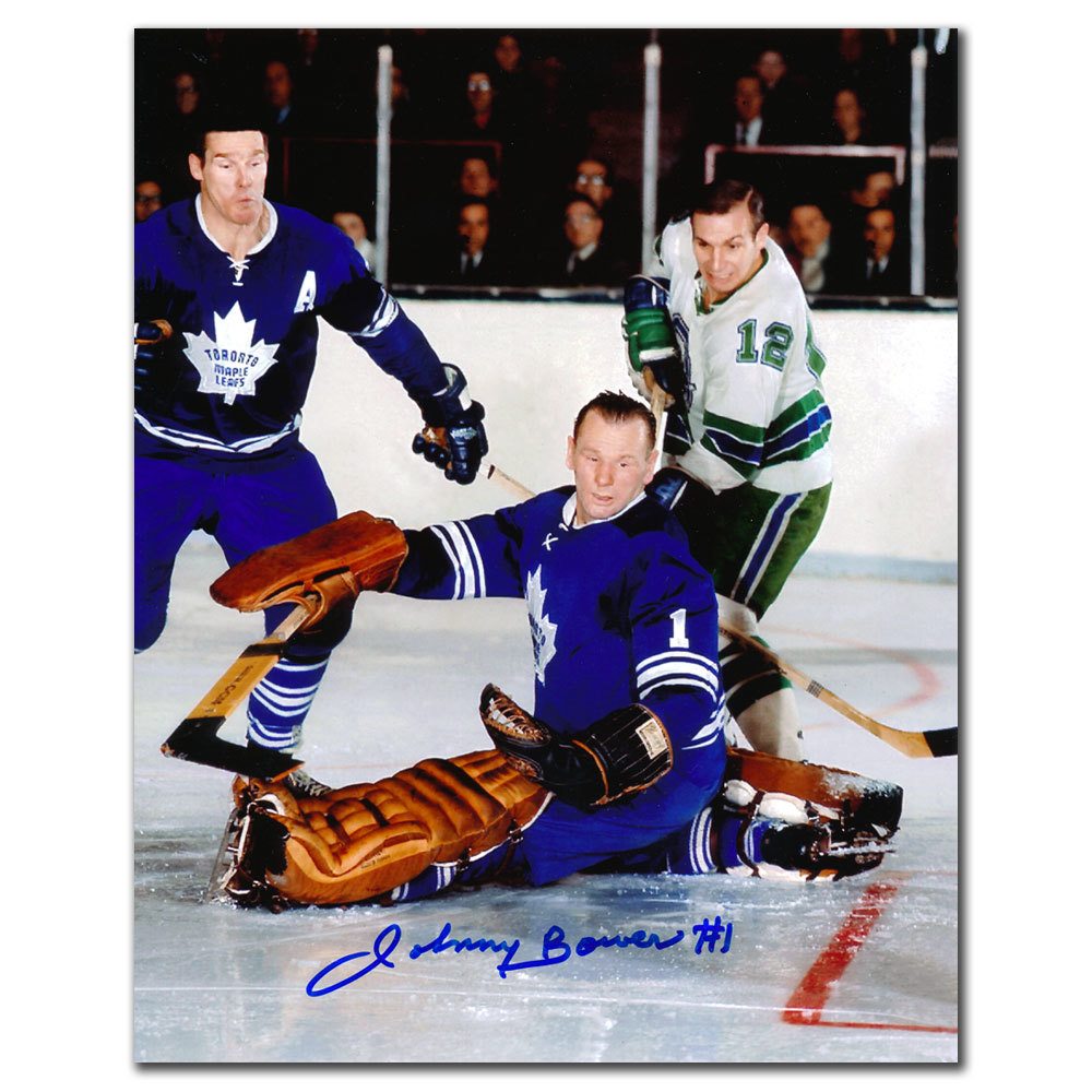 Johnny Bower Toronto Maple Leafs w/ HORTON Autographed 8x10