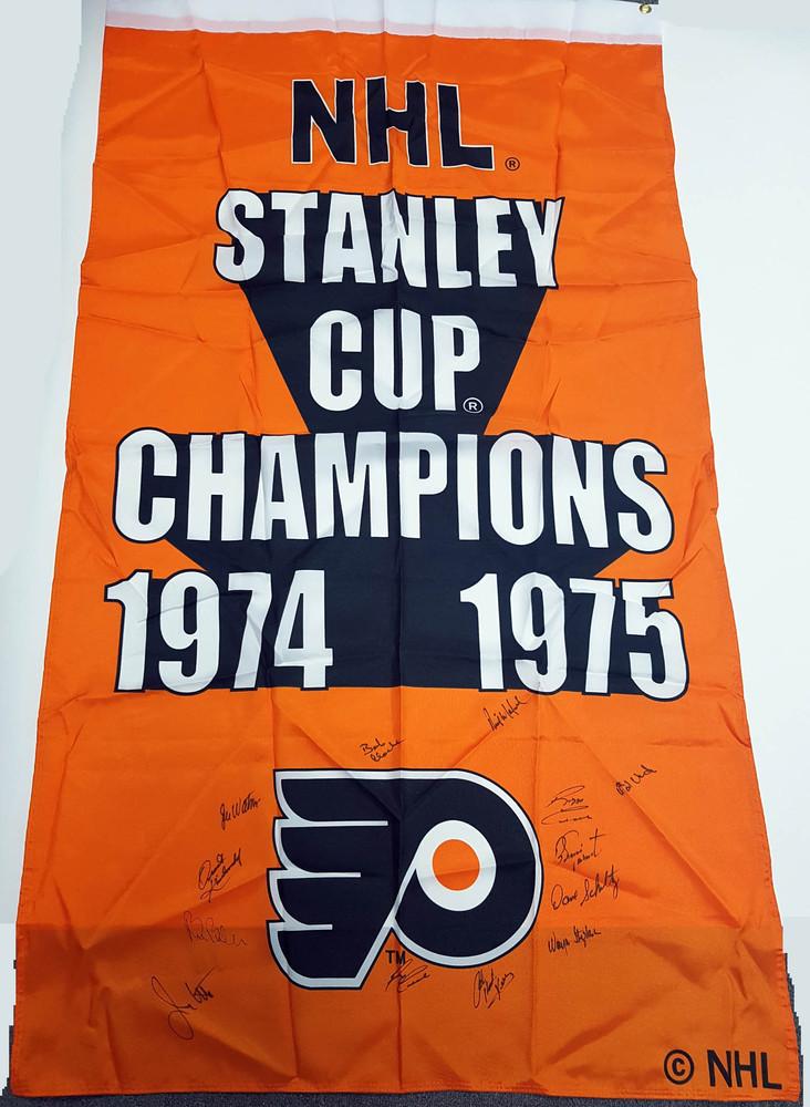 1974-75 Philadelphia Flyers Team Signed Stanley Cup Banner: 13 Autographs *Clarke, Parent, Barber, etc*