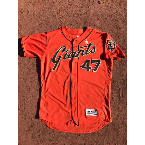 Photo of San Francisco Giants - 2017 Game-Used Jersey - #47 Johnny Cueto - Orange Friday Alt - Worn 9/1 - 5.1 IP, 4 Hits, 2 ER - Jersey Size 48