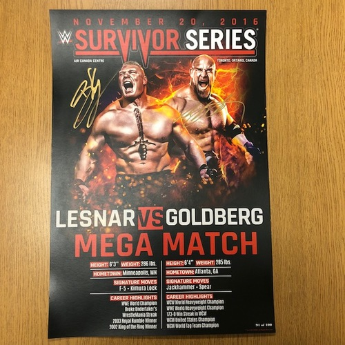 Photo of Brock Lesnar & Goldberg Autographed Match Card (Survivor Series 2016)