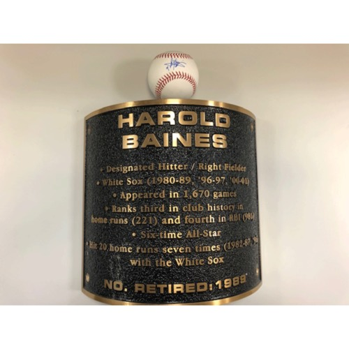 Harold Baines Autographed Baseball and Plaque from the Plaza of Guaranteed Rate Field
