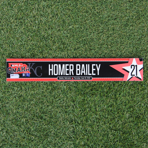 Photo of Game-Used Locker Tag: MLB in Omaha - Homer Bailey (DET @ KC - 6/13/19)