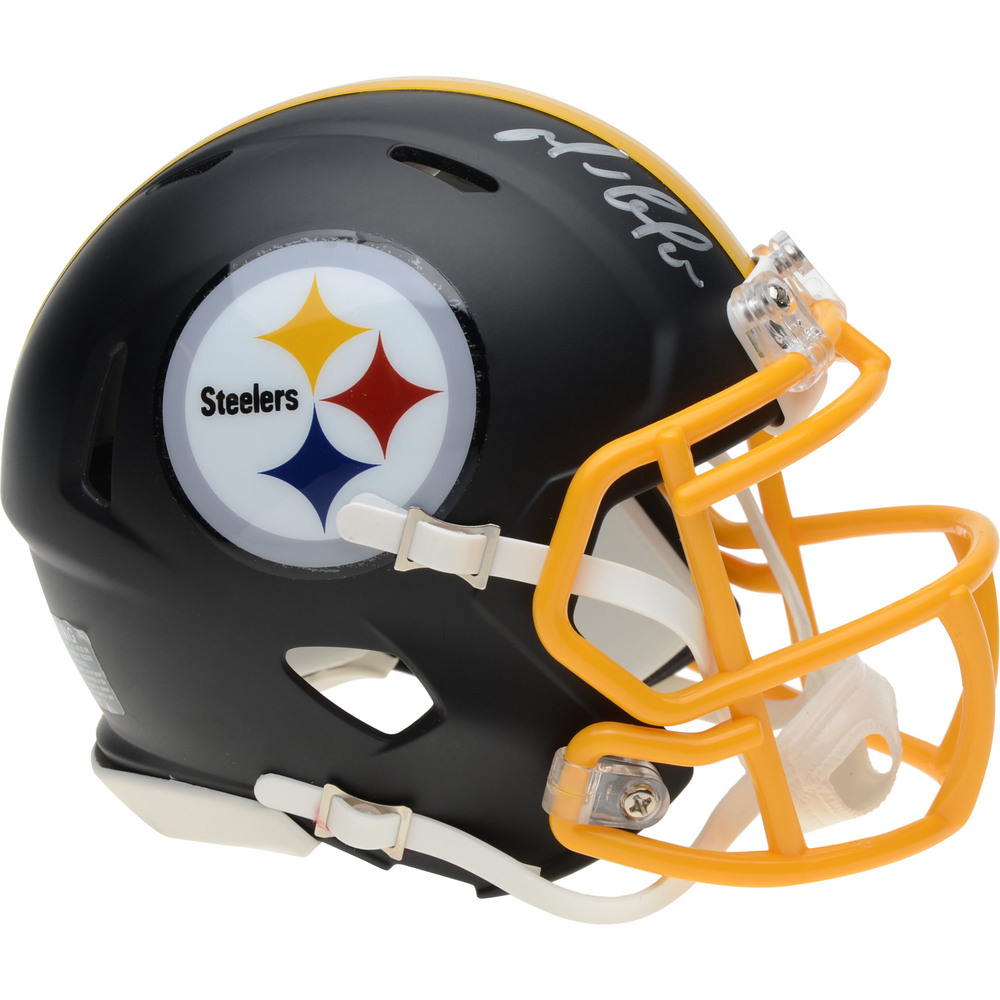 Mario Lemieux Pittsburgh Penguins Autographed Pittsburgh Steelers Black Matte Mini Helmet