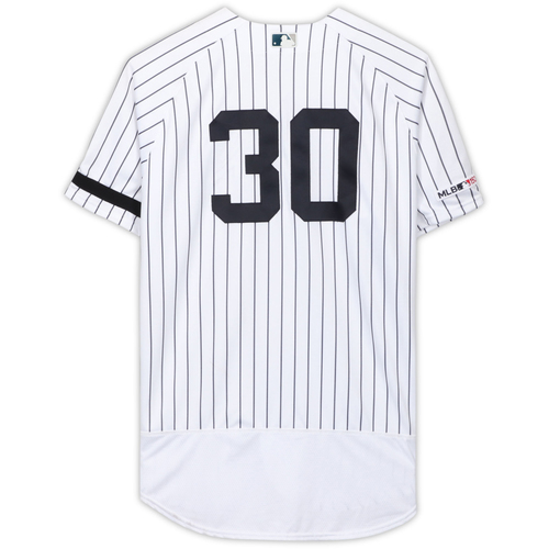 Photo of Edwin Encarnacion New York Yankees Game-Used #30 White Pinstripe Jersey vs. Tampa Bay Rays on June 17, 2019