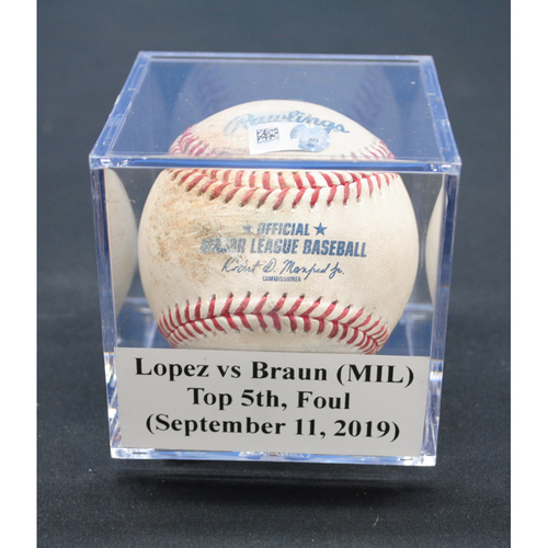 Photo of Game-Used Baseball: Pablo Lopez vs Ryan Braun (MIL), Top 5th, Foul - September 11, 2019
