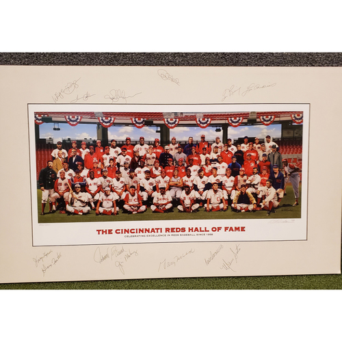 Photo of 13-Signature Reds Hall of Fame Inductee Purdom Matted Print