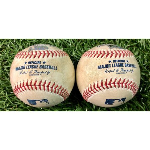 Game Used Baseball Package: Christian Vazquez & Andrew Benintendi - August 4-5, 2020 v BOS