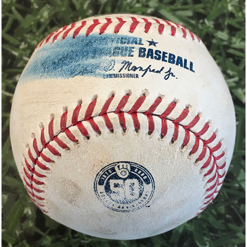 Photo of Game-Used Baseball CIN@MIL 08/24/20 - Devin Williams - Mike Moustaskas: Strikeout