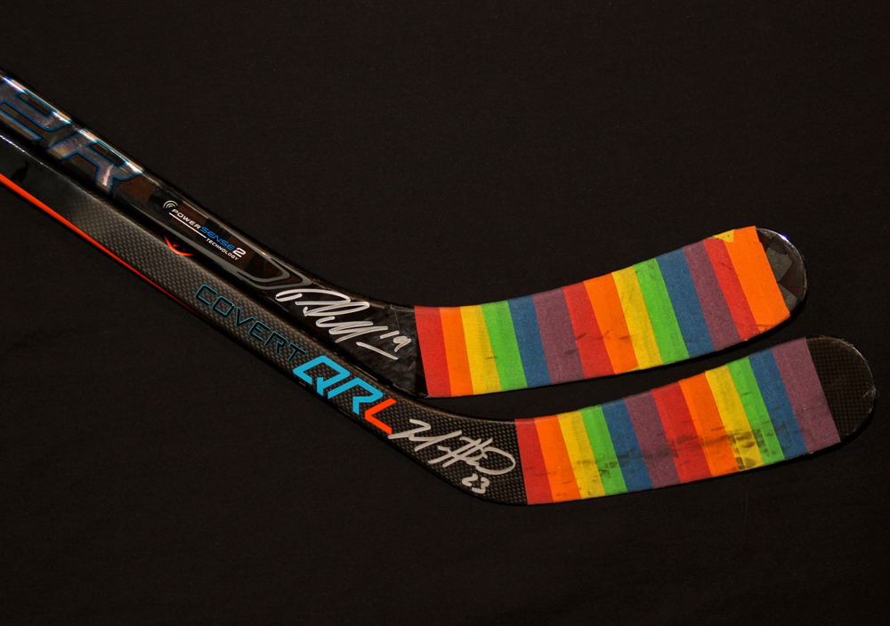 Patrick Maroon #19 & Matt Hendricks #23 - Autographed 2016-17 Edmonton Oilers You Can Play Night Pre-Game Warm Up Used Sticks With Pride Tape