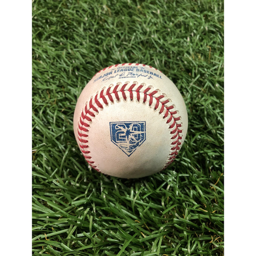 Photo of 20th Anniversary Game Used Baseball: Mark Trumbo single, Danny Valencia single and Trey Mancini 2RBI double off Sergio Romo - August 8, 2018 v BAL