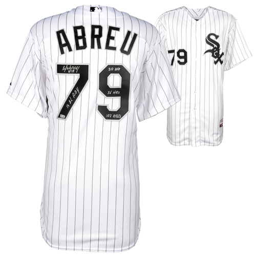 Photo of Jose Abreu Chicago White Sox Autographed On-Field Authentic Jersey with Multiple Inscriptions. L. E. of 14