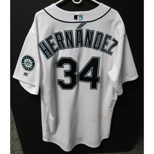 Photo of Seattle Mariners Felix Hernandez Game-Used Home White Jersey - 6/14/2018 vs. BOS