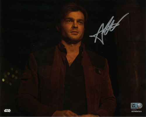 Alden Ehrenreich As Han Solo 8X10 AUTOGRPAHED IN 'SILVER' INK PHOTO