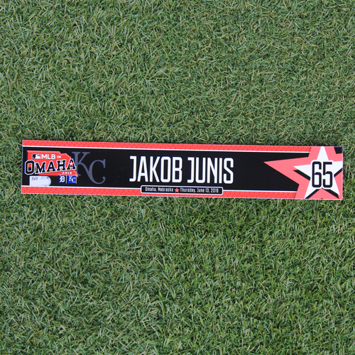 Photo of Game-Used Locker Tag: MLB in Omaha - Jakob Junis (DET @ KC - 6/13/19)