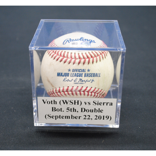 Photo of Game-Used Baseball: Austin Voth (WSH) vs Magneuris Sierra, Bot. 5th, Double - September 22, 2019